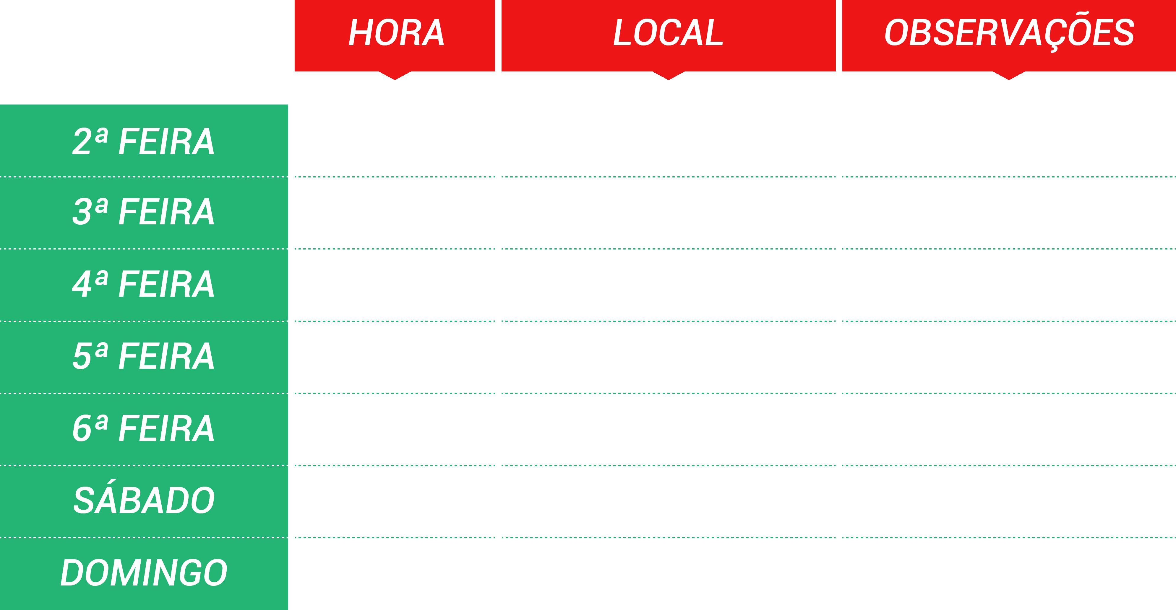 Tabela Programa Semana